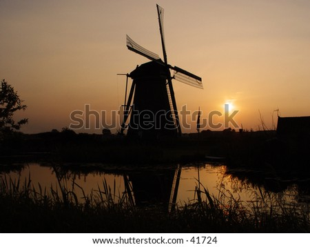 kinderdijk dutch windmills - stock photo