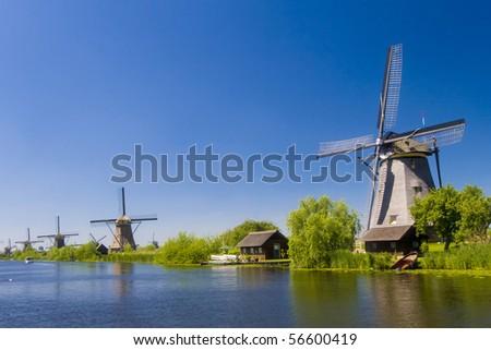Kinderdijk windmills 2 - stock photo
