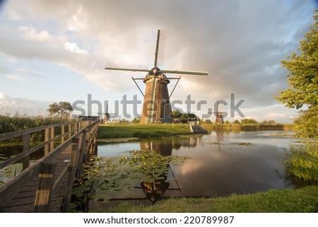 kinderdijk windmills unesco heritage netherlands - stock photo