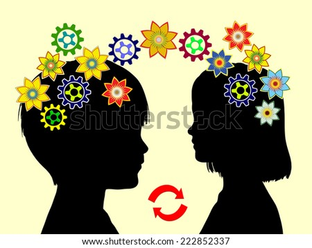Kindergarten Concept. Two children exchanging ideas and learning from each other being part of early childhood education - stock photo