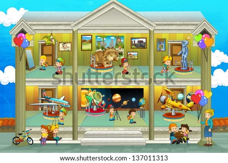 Kinds on vacations - cross section - play fun and education - illustration for the children - stock photo
