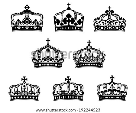 King and queen crowns set for heraldry and luxury embellishment design. Vector version also available in gallery - stock photo