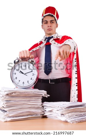 King businessman with lots of paperwork - stock photo