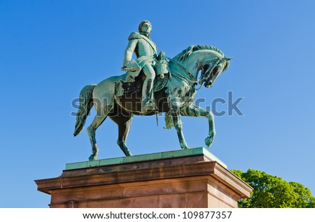 King Carl XIV Johan Statue at Norwegian Royal Palace Oslo - stock photo