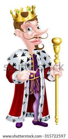 King cartoon character holding a sceptre and giving a thumbs up - stock photo