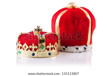 King crowns isolated on the white - stock photo