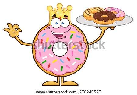 King Donut Cartoon Character Serving Donuts. Raster Illustration Isolated On White - stock photo
