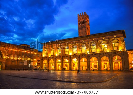 King Enzo palace at the main square of Bologna, Italy. Famous landmark at sunset at night - stock photo
