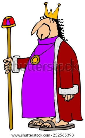 King holding his staff - stock photo