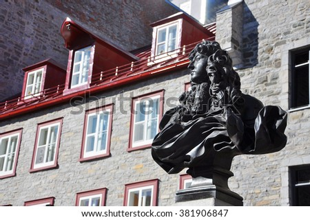 King Louis XIV Statue, Place Royale, Old Quebec City, Quebec, Canada. Historic District of Quebec City is UNESCO World Heritage Site since 1985. - stock photo