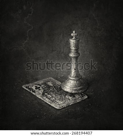 King of Clubs and White King - stock photo