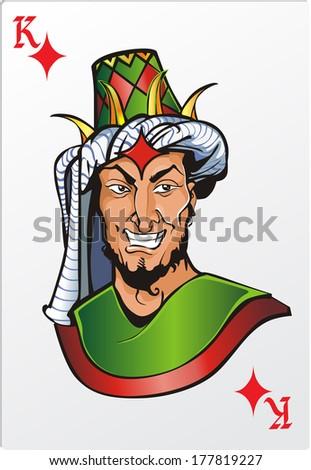 King of diamond. Deck romantic graphics cards - stock photo