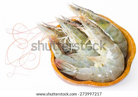 king prawns in cup on white background. - stock photo