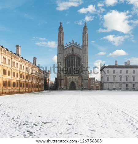 King's College Chapel in Cambridge with the Backs seen from the river Cam. Erected in 1532-36, the chapel is one of the finest examples of late Gothic English architecture. - stock photo