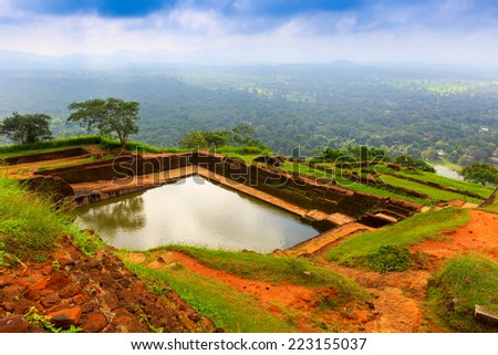 king's swimmig pool in Sigiriya. Sri Lanka - stock photo