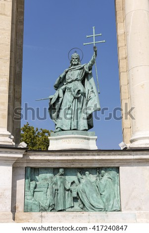 King Saint Stephen bronze statue. Colonnade of Heroes square monument in Budapest, Hungary. - stock photo