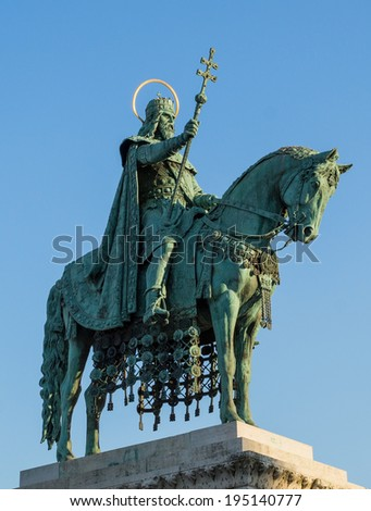 King St Stephen statue at Matthias Church with sunlight on nimbus, Budapest, Hungary - stock photo