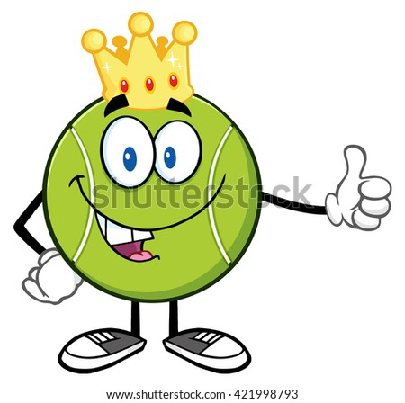 King Tennis Ball Cartoon Mascot Character Giving A Thumb Up. Raster Illustration Isolated On White - stock photo