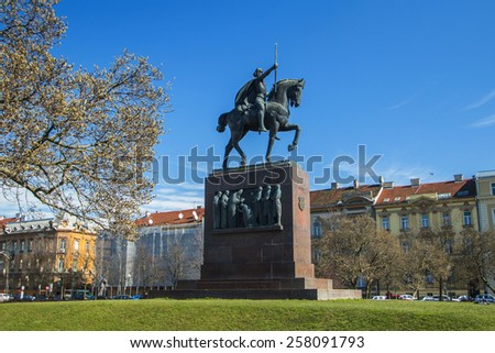 King Tomislav statue in Zagreb, Croatia in the park, public monument - stock photo
