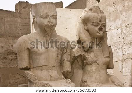 King Tutankhamen and Queen Nefertiti - Luxor Temple, Egypt - stock photo