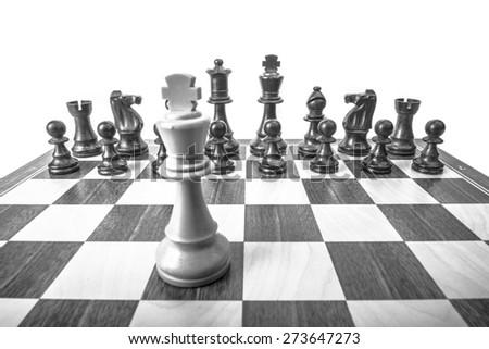 King white against black pieces - stock photo