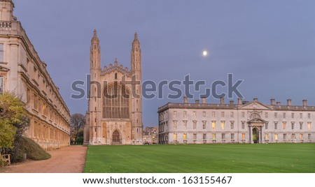 Kings College Chapel and Clare college in Cambridge - stock photo
