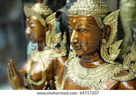 Kinnara statue - a kind of mythological creature - stock photo