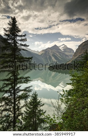 Kinney Lake,  near Valemount, British Columbia in the Mount Robson region of North Thompson, Berg Lake Trail - stock photo