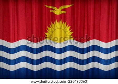 Kirbati flag pattern on the fabric curtain,vintage style - stock photo