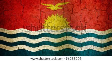 Kiribati flag on a cracked grunge background - stock photo