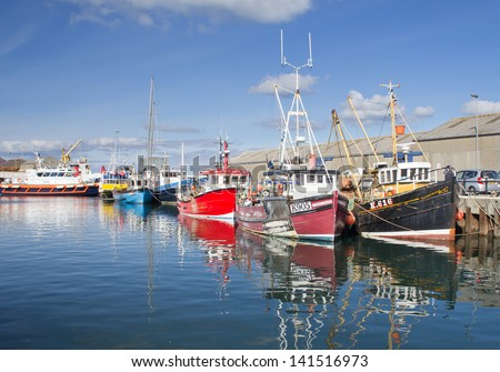 KIRKWALL, ORKNEY, SCOTLAND - MARCH 30: Kirkwall, Orkney's largest town and Capital on March 30, 2013 in Kirkwall. - stock photo