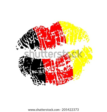 kissable lips with paint of the German flag - stock photo