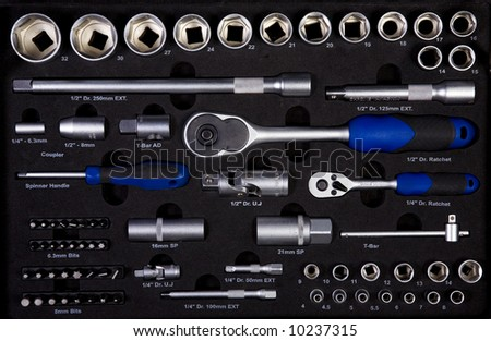 Kit of Various Tools Arranged in Order - stock photo