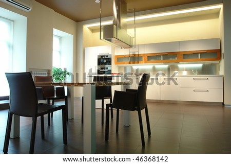 kitchen and dining room - stock photo