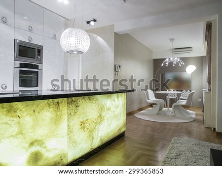 Kitchen and dinning room  - stock photo