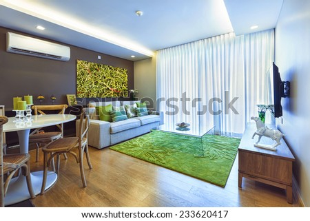Kitchen and living room with big window interior - stock photo