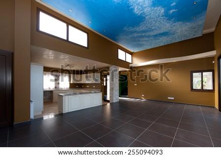 kitchen and livingroom - stock photo