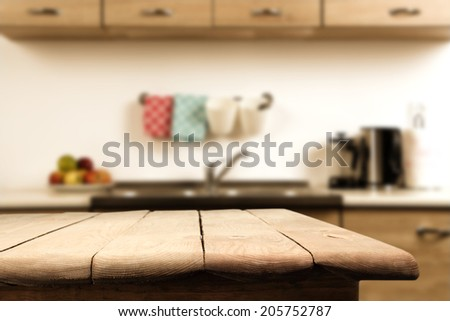 kitchen and wooden table  - stock photo