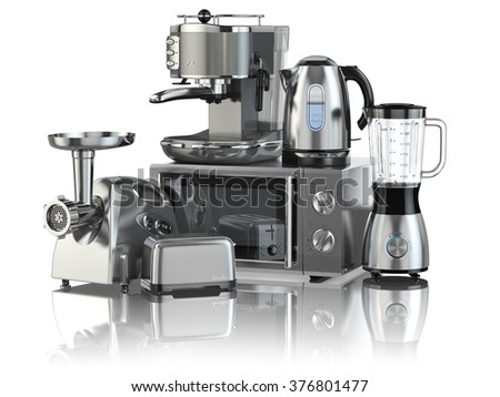 Kitchen appliances. Blender, toaster, coffee machine, meat ginder, microwave oven and kettle isolated on white. 3d - stock photo