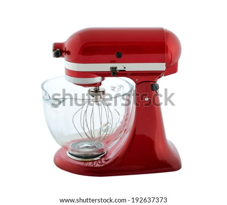 Kitchen appliances - red planetary mixer with a transparent bowl, isolated on a white background - stock photo
