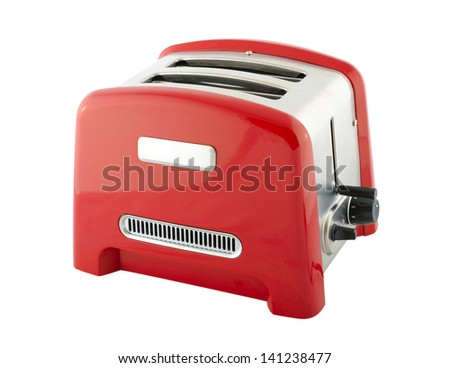 Kitchen appliances - toaster of silver and red color, isolated on a white background - stock photo