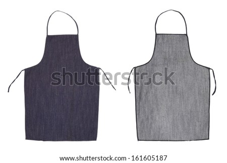 Kitchen blue apron. Front and back view. Isolated on a white background - stock photo
