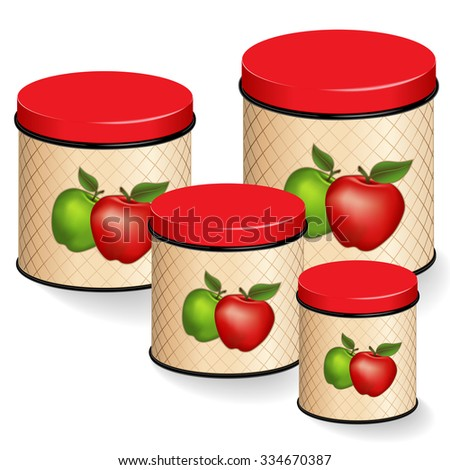 Kitchen Canisters, four food storage tins with lids in small, medium and large sizes with red and green apple design, lattice background, isolated on white background.  - stock photo