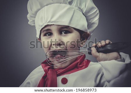 kitchen, child dress funny chef, cooking utensils - stock photo