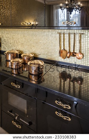 kitchen copper Saucepan in stove - stock photo