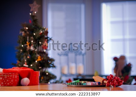 Kitchen counter in preparation for Christmas - stock photo