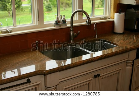 kitchen counter with sink - stock photo