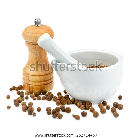 kitchen equipment for grinding spices isolated on a white background - stock photo