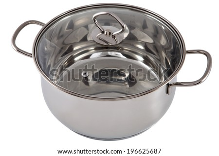 Kitchen equipment, One Casserole Pan Stainless Steel with transparent tempered glass lid,  no people, nobody, isolated on white background - stock photo