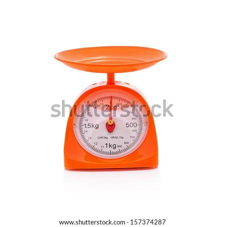 kitchen food scale on white background - stock photo